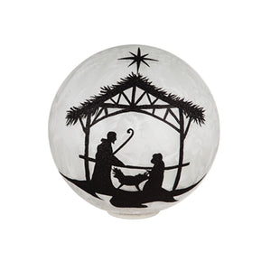 Hologram Star and Angel Battery Operated LED Glass Gazing Ball, Black Glitter Nativity