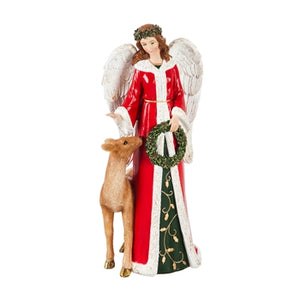 Natural Angel Garden Statuary with Holly Wreath