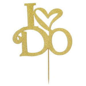 "Gold Glitter ""I Do"" Cake Topper"