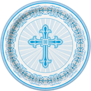 Religious Blue- Paper Dinner Plates 8 ct.