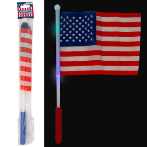 USA Flag On 17In Led Light Stick