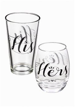 Wholesale Stemless Wine Glass & Beer Cup Gift Set, Hers and His