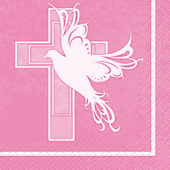 Pink Dove Cross - Beverage Napkins 16 ct.