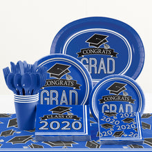 Load image into Gallery viewer, Congrats Grad Lunch Plates 18ct Blue