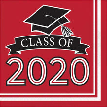 Load image into Gallery viewer, Class of 2020 Lunch Napkin 36ct Red