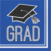 Load image into Gallery viewer, Congrats Grad Beverage Napkin 36ct Blue