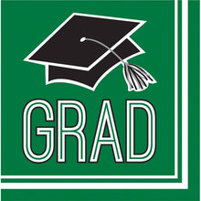 Load image into Gallery viewer, Congrats Grad Beverage Napkin 36ct Green