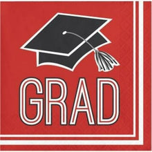Load image into Gallery viewer, Congrats Grad Beverage Napkin 36ct Red