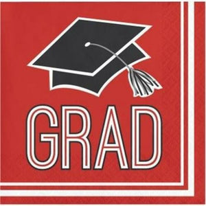 Congrats Grad Beverage Napkin 36ct Red
