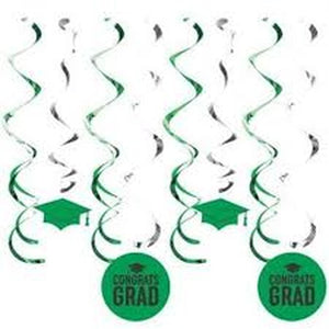 Graduation Deluxe Dizzy Danglers 8ct Green