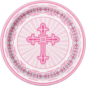 Religious Pink - Paper Dessert Plates 8 ct.