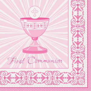 First Communion Pink - Paper Lunch Napkins 16 ct.
