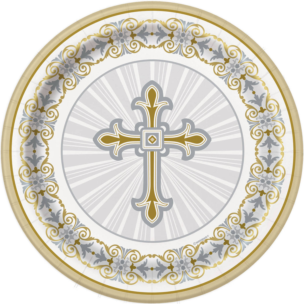 Religious Gold / Silver - Paper Dinner Plates 8 ct.