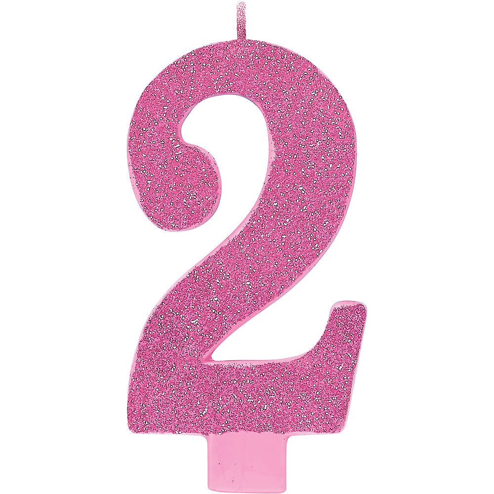 Large Glitter Birthday Candle - #2 Pink