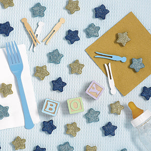 Gold and Blue Glitter Star Table Scatters