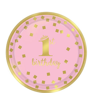 Pink and Gold Confetti First Birthday Tableware