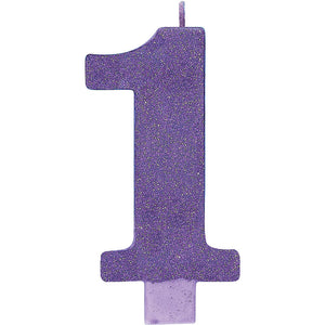 Large Glitter Birthday Candle - #1 Purple