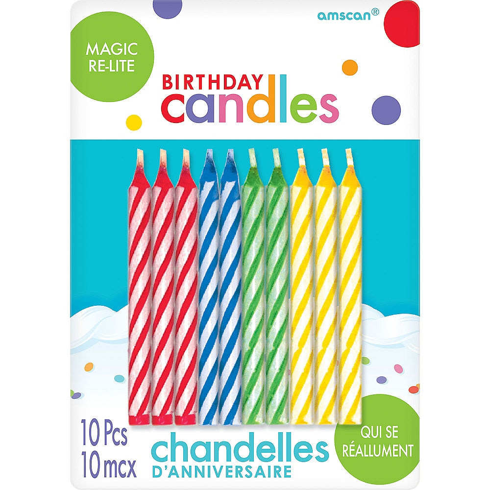 Multicolor Magic Re-Lite Spiral Birthday Candles