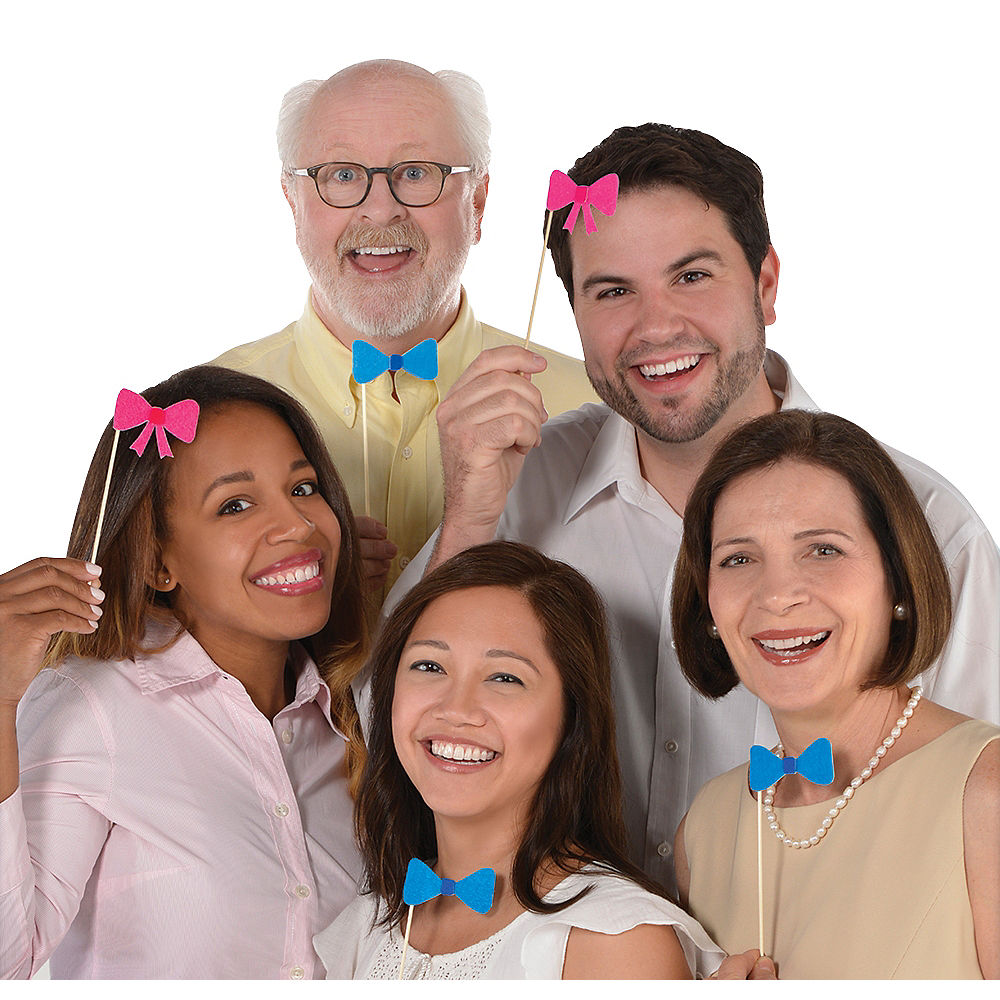 Pink Hair Bow and Blue Bow Tie Photo Props