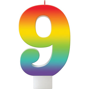 Rainbow Number Birthday Candle