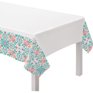 Boho Vibes Floral Geometry Fabric Tablecloth