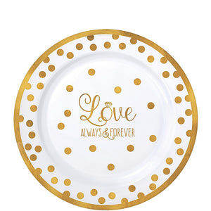 Sparkling Gold Wedding Premium Plastic Lunch Plates 20ct