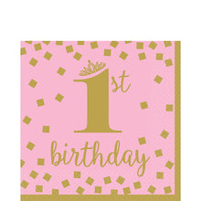 Load image into Gallery viewer, Pink and Gold Confetti First Birthday Tableware
