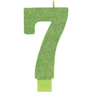 Large Glitter Birthday Candle - #7 Lime Green