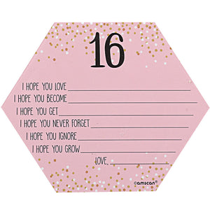 Pink Sweet Sixteen Wish Cards 24 Count