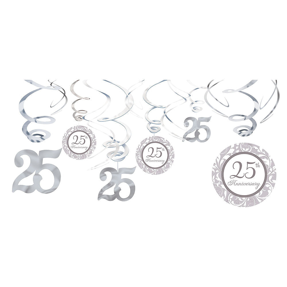 25th Anniversary Swirl Decorations 12ct