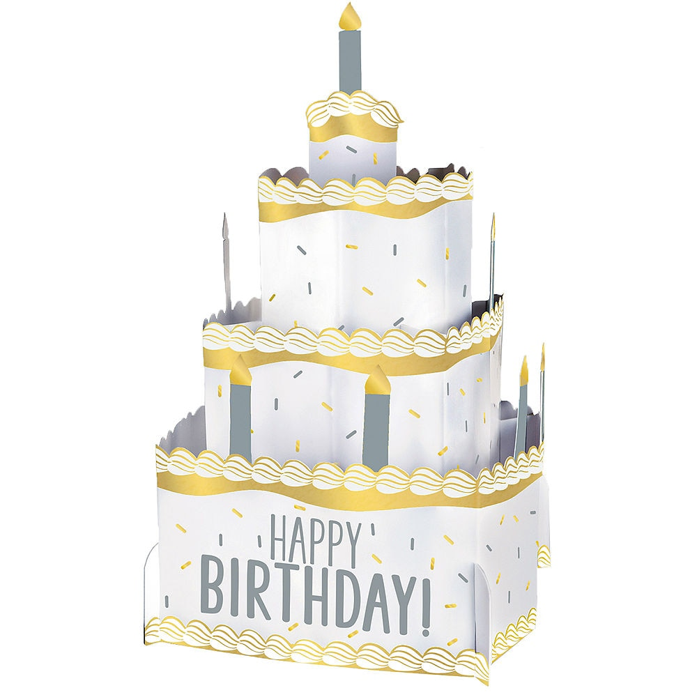 Gold and Silver Pop Up Birthday Cake Centerpiece