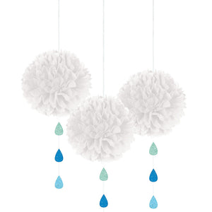 White Cloud Pom-Poms with Raindrops
