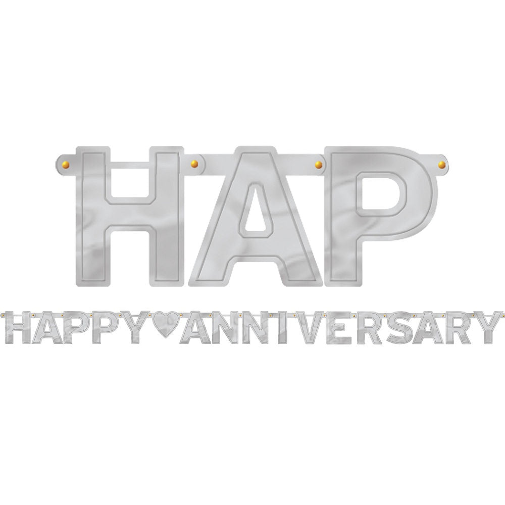 Silver Happy Anniversary Letter Banner
