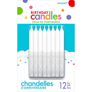Glitter Silver Birthday Candles