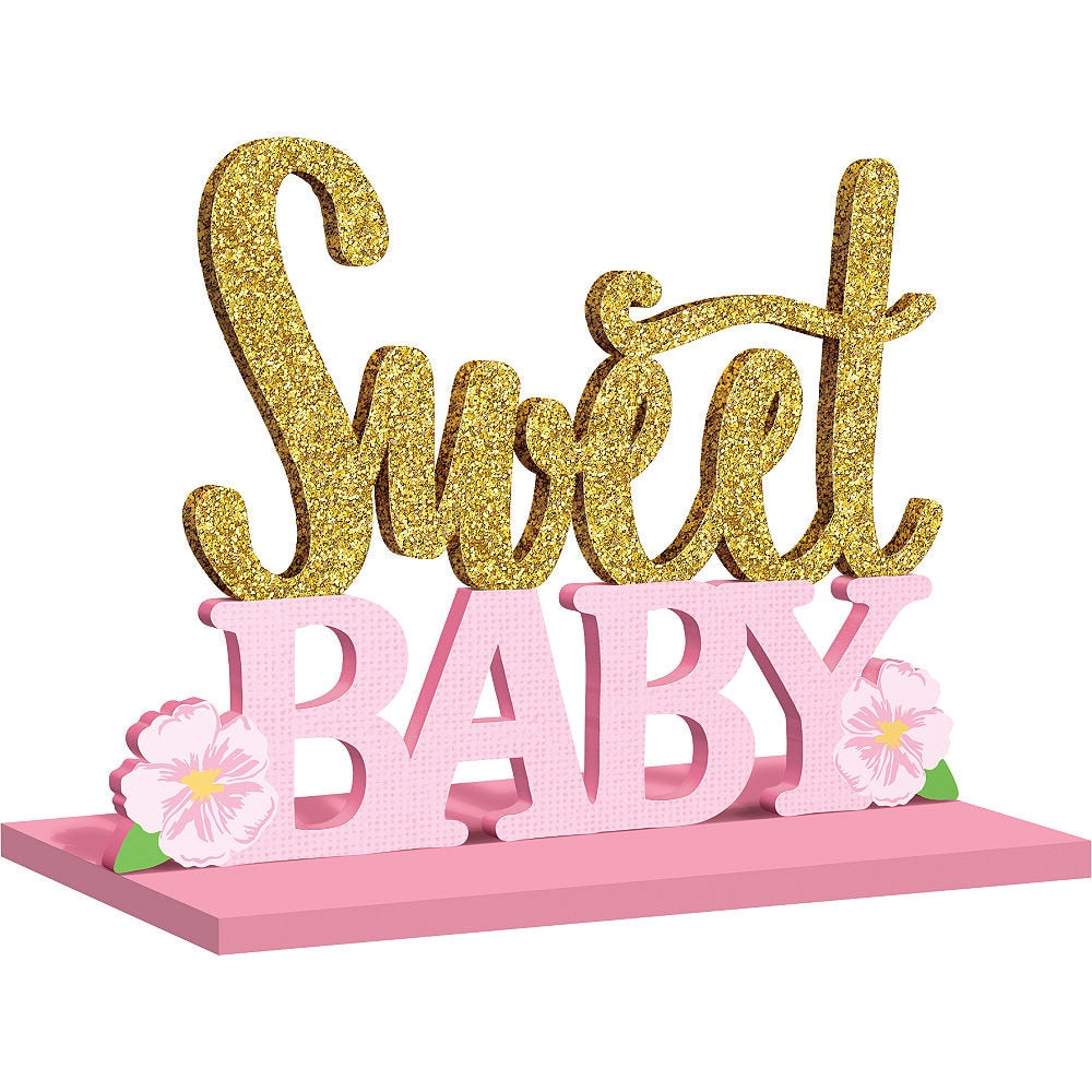 Pink and Gold Sweet Baby Wooden Sign