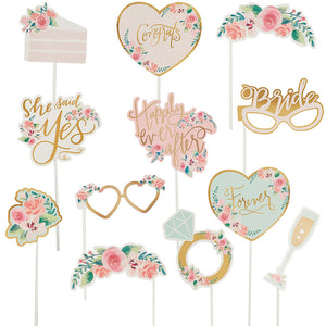 Mint to Be Floral Photo Booth Props