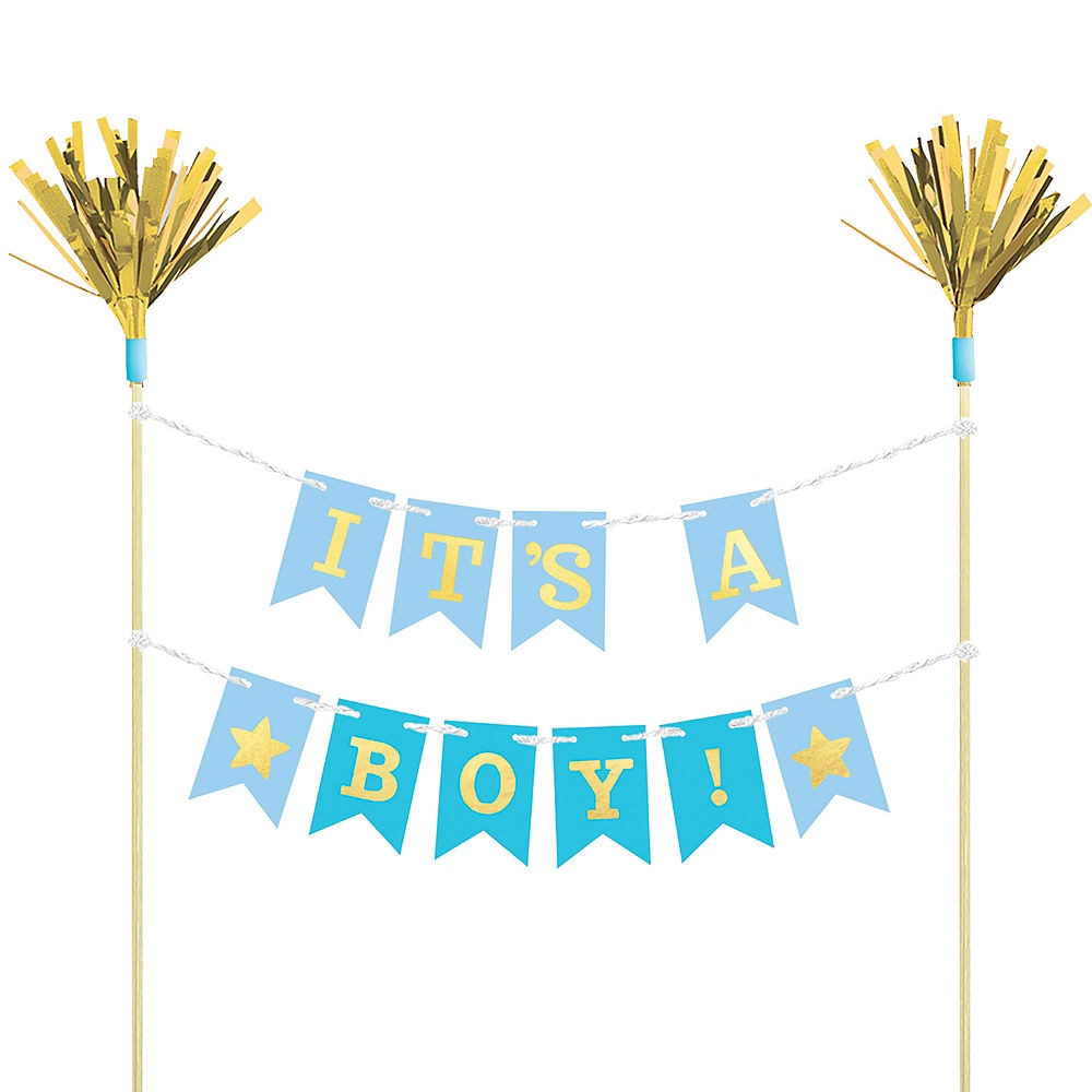 Blue Baby Shower Pennant Banner Cake Topper