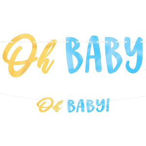 Blue & Metallic Gold Oh Baby Banner