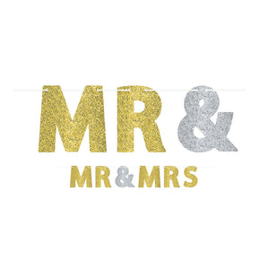Glitter Mr. & Mrs. Wedding Letter Banner Kit