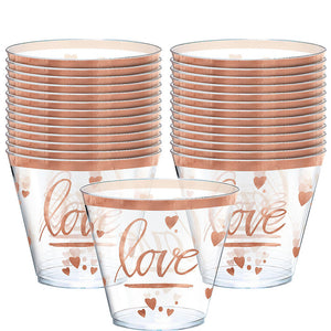 Gold Love Plastic Tumblers 30ct