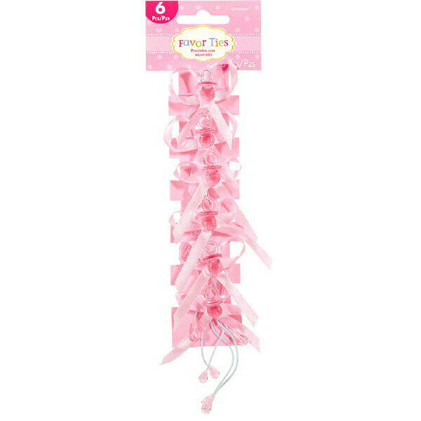 Pink Pacifier Favor Ties