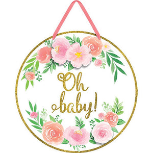 "Floral ""Oh Baby!"" Hanging Sign"