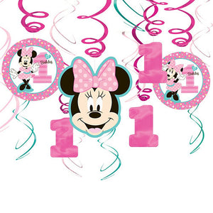 Minnie Mouse 1st Birthday Swirl Decorations