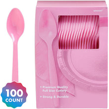 Load image into Gallery viewer, Party Pack Premium Plastic Spoons 100ct