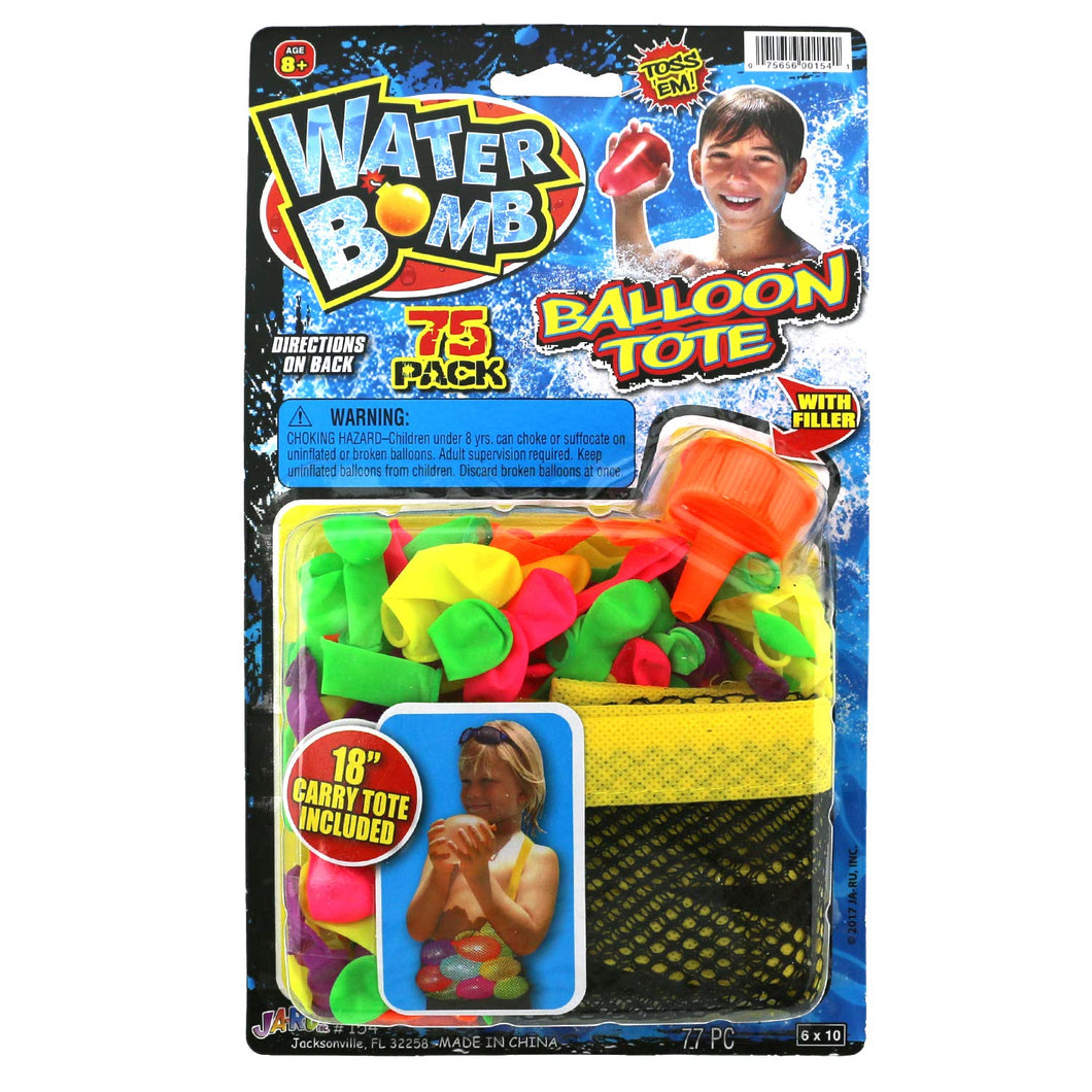 Water Bomb Water Balloons - 75 Pack with Filler & Balloon Tote