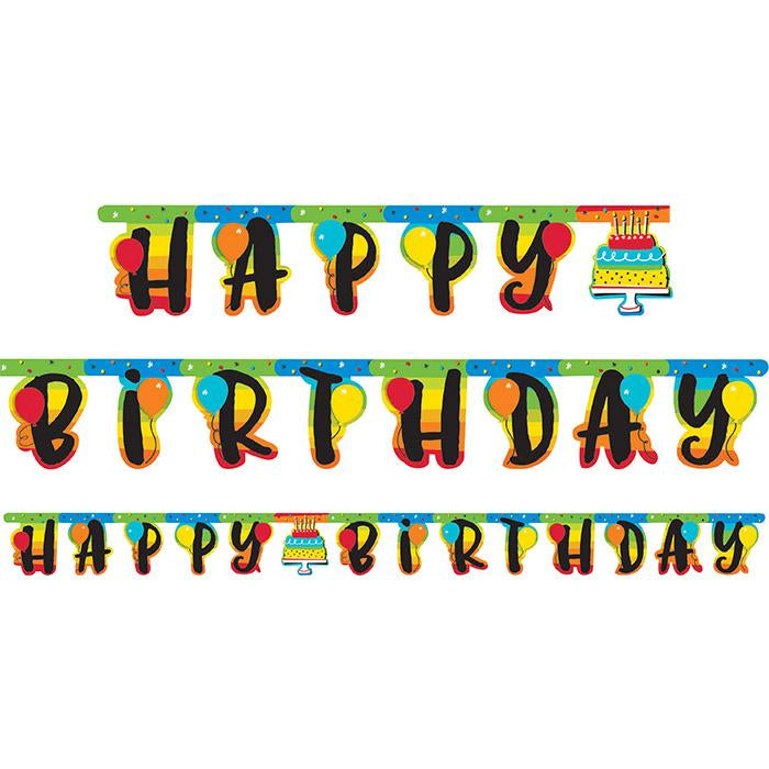 Rainbow Jointed Happy Birthday Banner