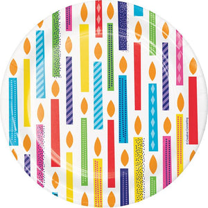 Bright Birthday cake plate 7""