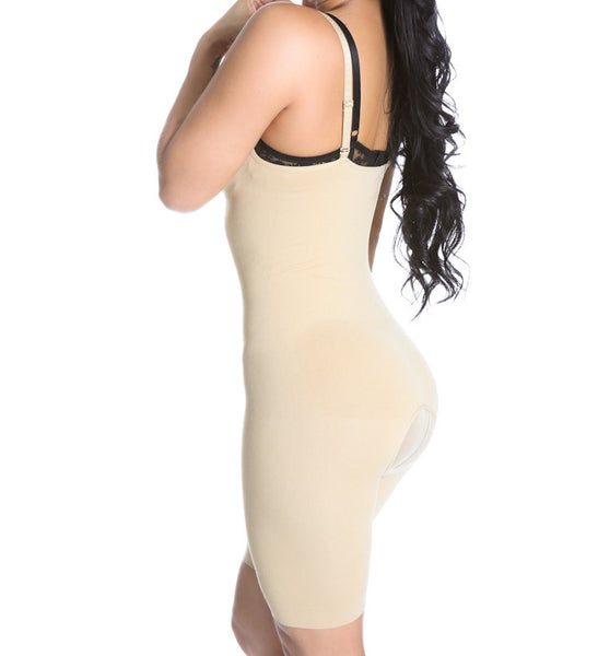 Smok69 Smok69 Mid-Thigh Full Strappy Body Shaper Available in Black and Nude  - 2