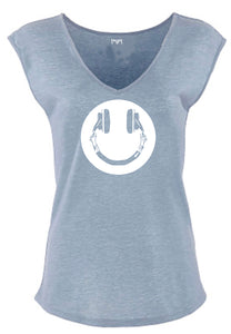 Smiley Women Sleeveless V-neck