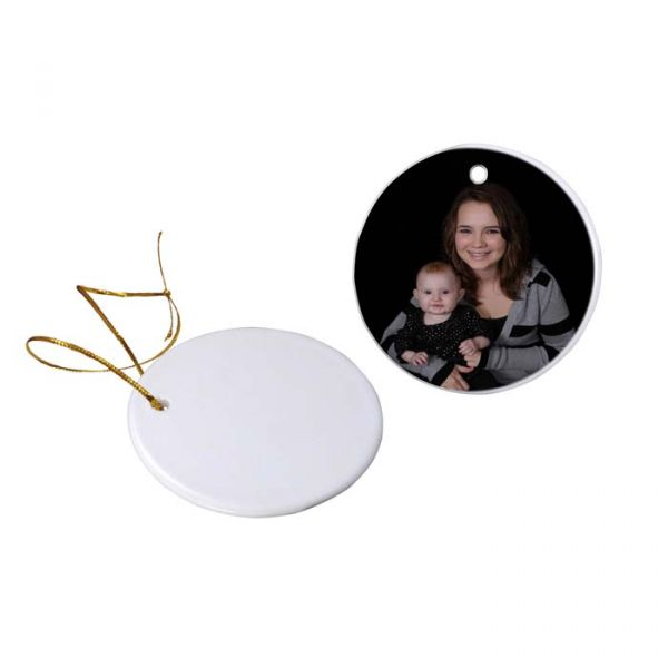 Round Two Sided Ceramic Sublimation Holiday Ornament - 2.85